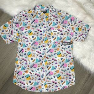 New! I love the 90's Men's button Up Size Medium